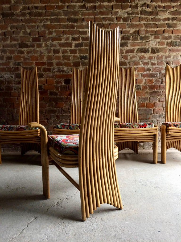 Missoni Dining Chairs High Back Bamboo Set of Eight Stunning For Sale 4