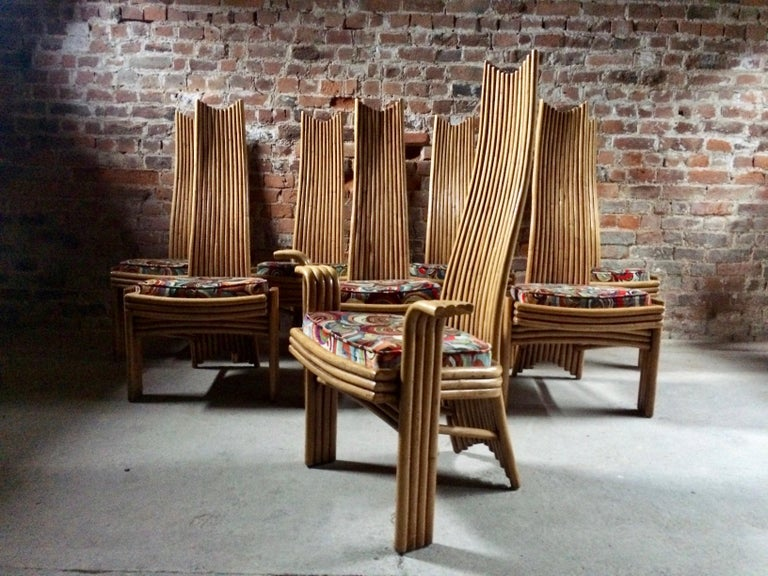 Missoni Dining Chairs High Back Bamboo Set of Eight Stunning For Sale 5