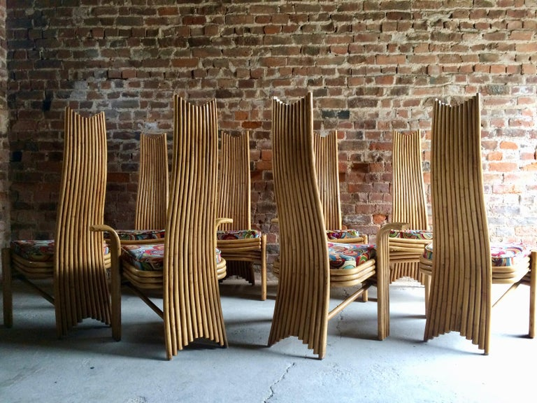 Missoni Dining Chairs High Back Bamboo Set of Eight Stunning For Sale 12