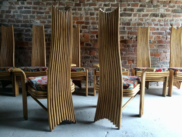 Missoni Dining Chairs High Back Bamboo Set of Eight Stunning For Sale 13