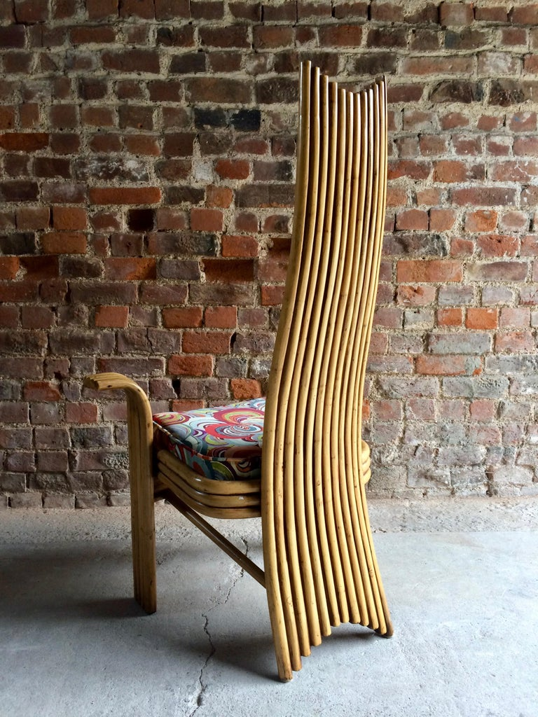 Italian Missoni Dining Chairs High Back Bamboo Set of Eight Stunning For Sale