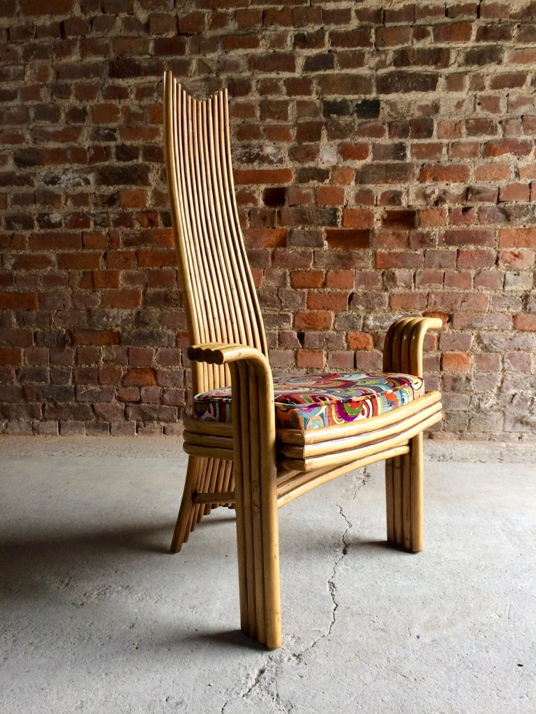 Contemporary Missoni Dining Chairs High Back Bamboo Set of Eight Stunning For Sale