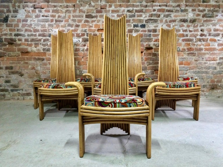 Missoni Dining Chairs High Back Bamboo Set of Eight Stunning For Sale 2