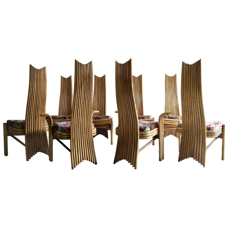 Missoni Dining Chairs High Back Bamboo Set of Eight Stunning For Sale