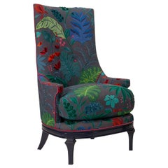 High Back Barrel Chair in Colorful Floral Embroidered Linen