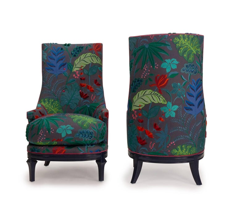 High Back Barrel Chairs In Colorful Floral Embroidered