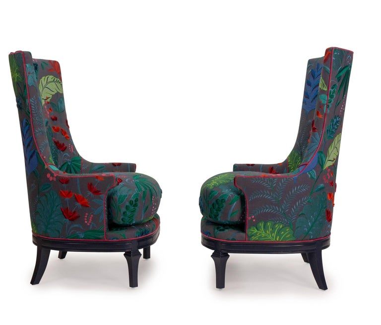 High Back Barrel Chairs in Colorful Floral Embroidered ...