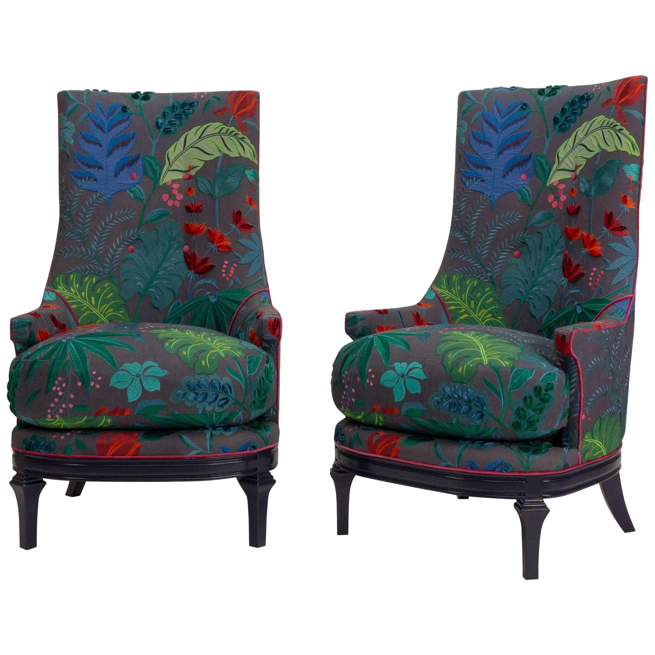 High Back Barrel Chairs in Colorful Floral Embroidered Linen