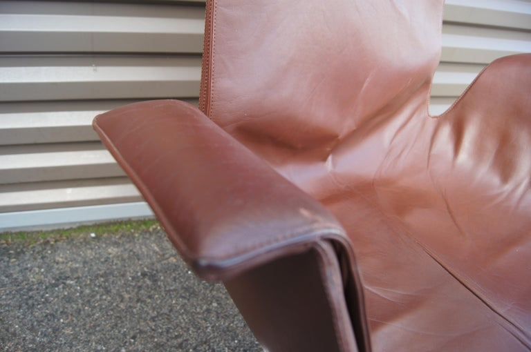 Leather High-Back Bird Chair by Preben Fabricius and Jørgen Kastholm for Alfred Kill For Sale