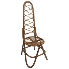 Rare Dirk Van Sliedregt Rohe Noordwolde High Back Rattan Chair, Netherlands 1950