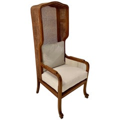 High Back Cane Wing Chair, France, 1920s