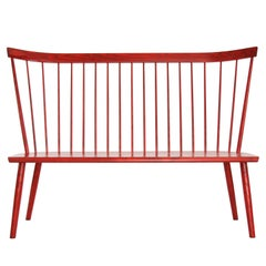 High-Back Colt Settee in Bayetta Red Stain on Ash by O&G Studio