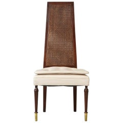 High Back Desk Chair with Double-Sided Rattan Back and Beige Faux Leather Seat