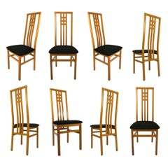 High Back Frank Lloyd Wright Style Modern Italian Cherry Dining Chairs
