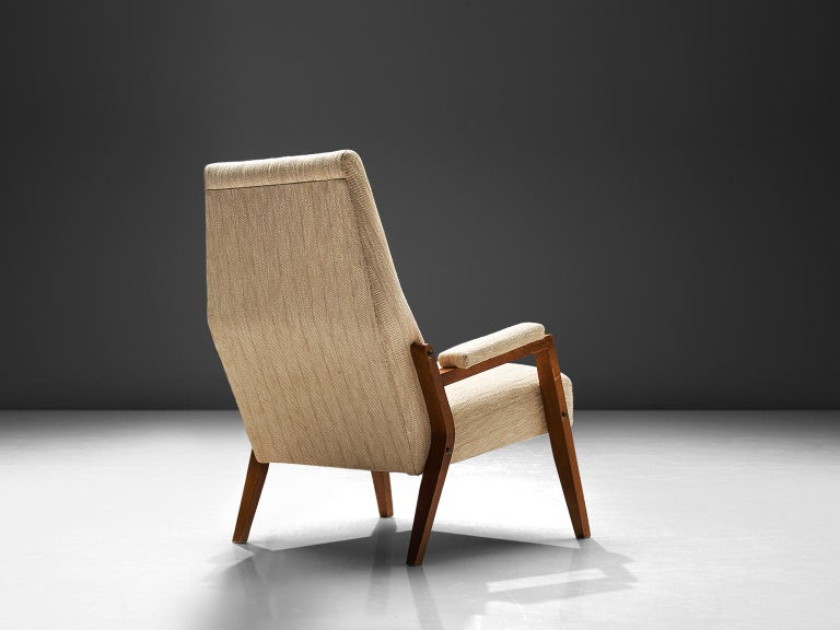 Mid-Century Modern High Back Italian Armchair, circa 1950 For Sale