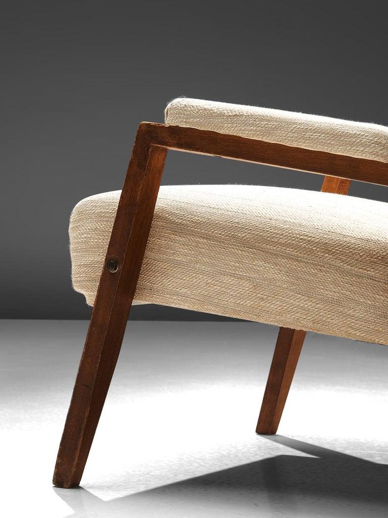 Fabric High Back Italian Armchair, circa 1950 For Sale