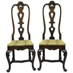 High Back Italian Baroque or Swedish Rococo Style Dining Side Chairs a Pair