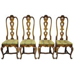 High Back Italian Baroque or Swedish Rococo Style Dining Side Chairs Set of Four