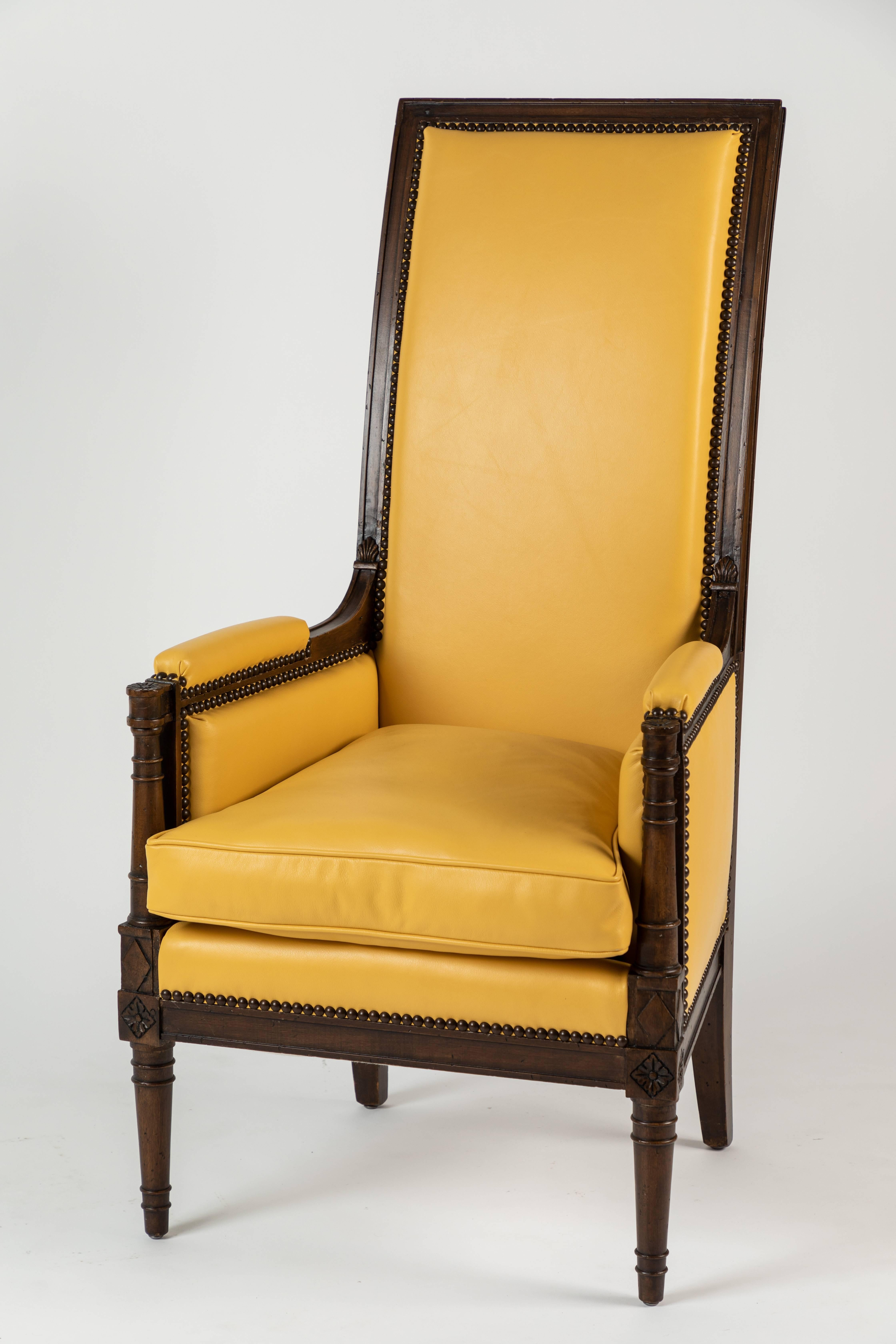 High Back Leather Armchair By Yale R Burge At 1stdibs