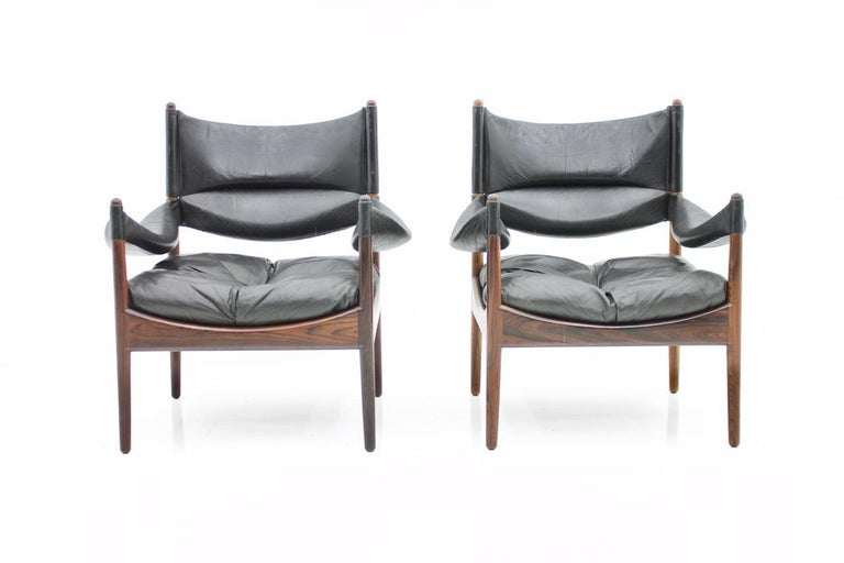 Danish High Back Lounge Chairs by Kristian Solmer Vedel Made by Søren Willadsen, 1963 For Sale