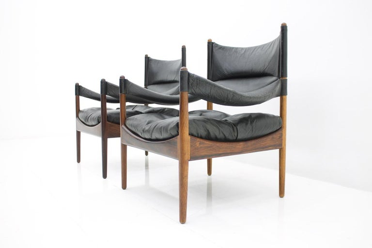 High Back Lounge Chairs by Kristian Solmer Vedel Made by Søren Willadsen, 1963 In Good Condition For Sale In Frankfurt / Dreieich, DE