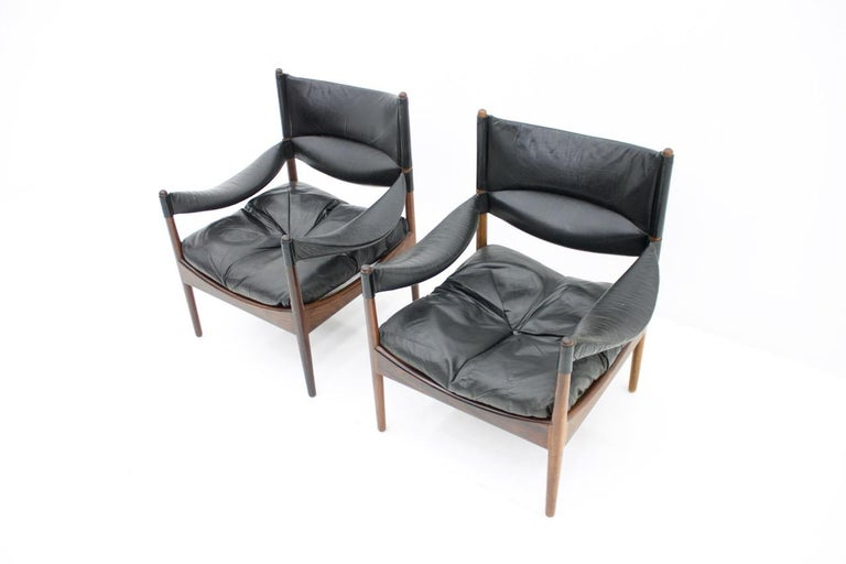 Mid-20th Century High Back Lounge Chairs by Kristian Solmer Vedel Made by Søren Willadsen, 1963 For Sale