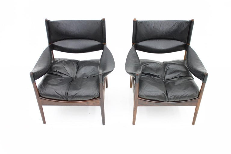 Leather High Back Lounge Chairs by Kristian Solmer Vedel Made by Søren Willadsen, 1963 For Sale
