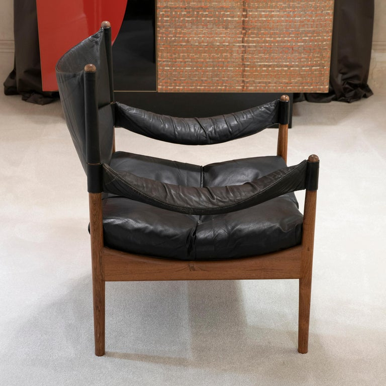 Leather High Back Lounge Chairs by Kristian Vedel Made by Søren Willadsen, 1963