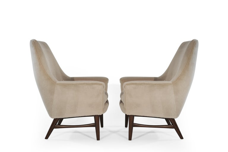 Scandinavian Modern High-Back Lounge Chairs by Oscar Langlo in Alpaca Velvet, Norway, 1950s