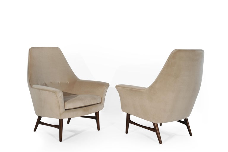Norwegian High-Back Lounge Chairs by Oscar Langlo in Alpaca Velvet, Norway, 1950s