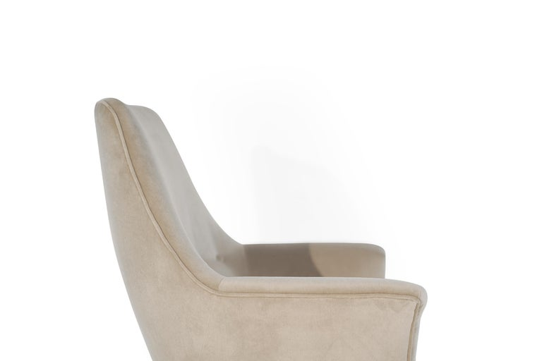 High-Back Lounge Chairs by Oscar Langlo in Alpaca Velvet, Norway, 1950s 1