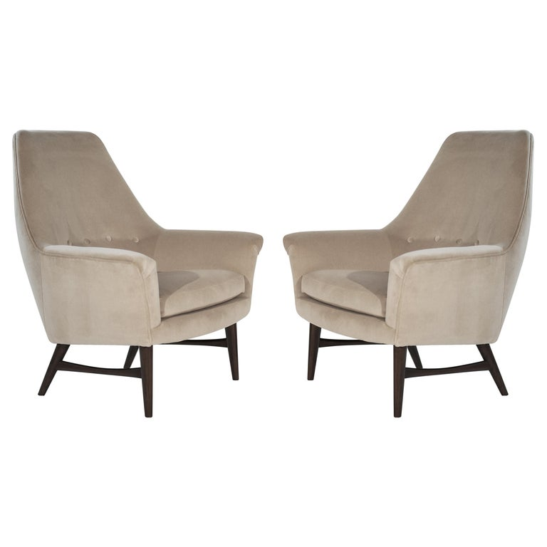 High-Back Lounge Chairs by Oscar Langlo in Alpaca Velvet, Norway, 1950s