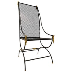 High Back Metal Chair with Swan Details