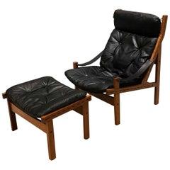 High Back Midcentury Danish Torbjørn Afdal Chair and Ottoman