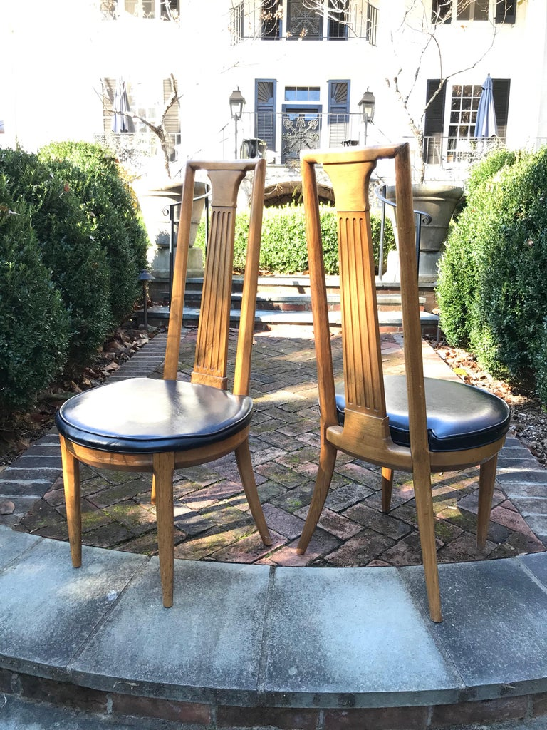 American High Back Midcentury Side Chairs of Ash, a Pair For Sale