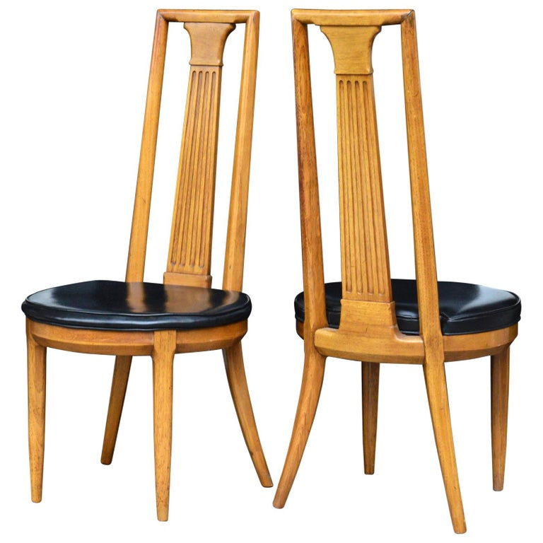 High Back Midcentury Side Chairs of Ash, a Pair For Sale