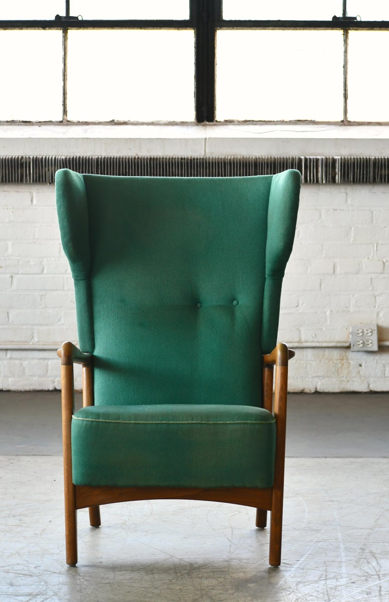 Mid-Century Modern High Back Open Arm Lounge Chair by Fritz Hansen Danish Midcentury For Sale