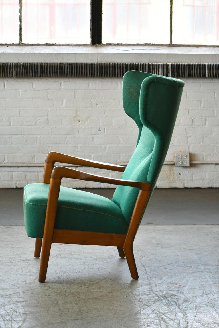 High Back Open Arm Lounge Chair by Fritz Hansen Danish Midcentury In Good Condition For Sale In Bridgeport, CT