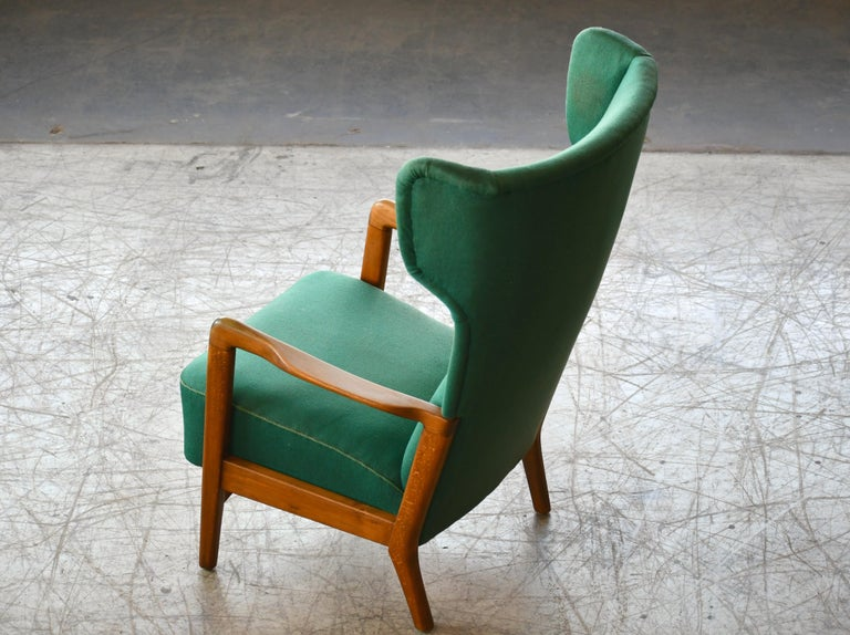 Mid-20th Century High Back Open Arm Lounge Chair by Fritz Hansen Danish Midcentury For Sale