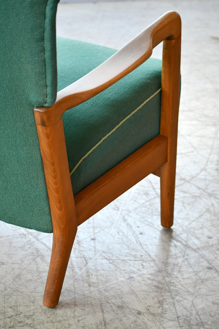 High Back Open Arm Lounge Chair by Fritz Hansen Danish Midcentury For Sale 1