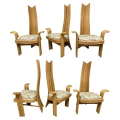 High Back Rattan Dining Chairs in the Style of Danny Ho Fong or Mackintosh