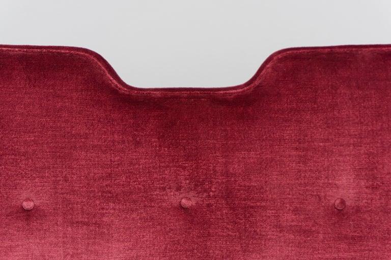 High Back Red Velvet Bench by Osvaldo Borsani, circa 1940 For Sale 4