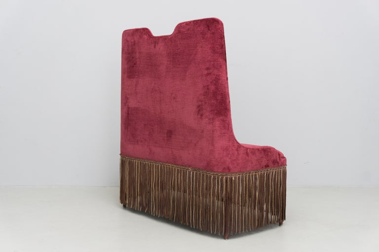 Modern High Back Red Velvet Bench by Osvaldo Borsani, circa 1940 For Sale