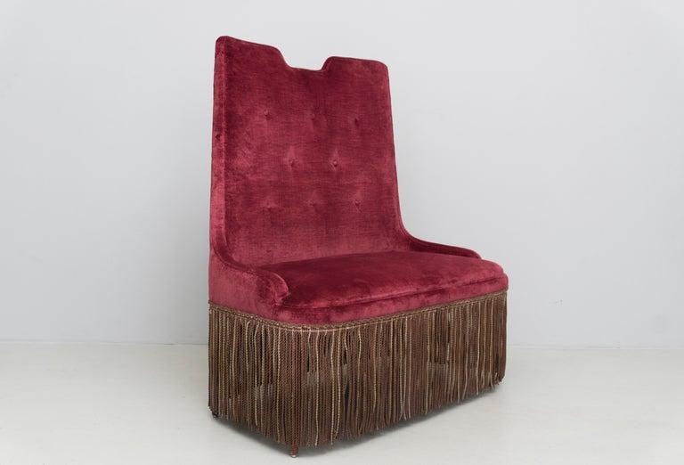 Italian High Back Red Velvet Bench by Osvaldo Borsani, circa 1940 For Sale