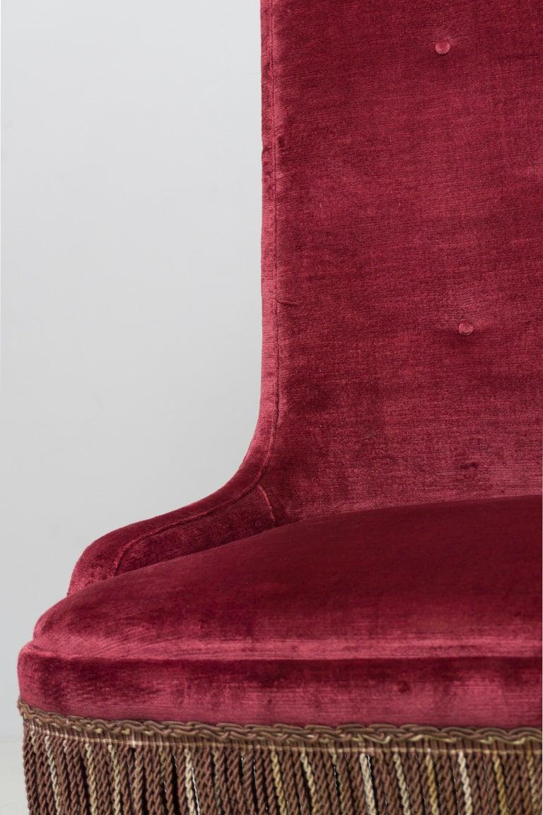 High Back Red Velvet Bench by Osvaldo Borsani, circa 1940 In Excellent Condition For Sale In Berlin, DE