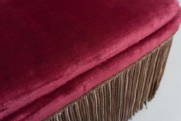 High Back Red Velvet Bench by Osvaldo Borsani, circa 1940 For Sale 1