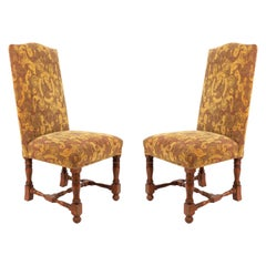 High Back Renaissance Style Dining Chairs with Floral Upholstery
