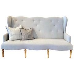 High Back Sofa with Light Wood Legs