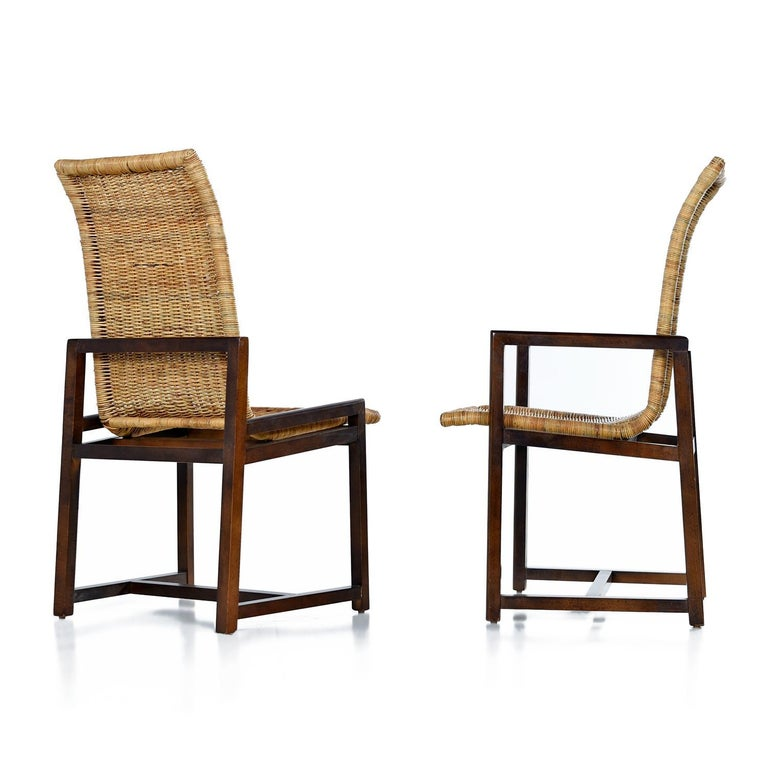Mid-Century Modern High Back Woven Rattan Dining Chairs by Century Furniture