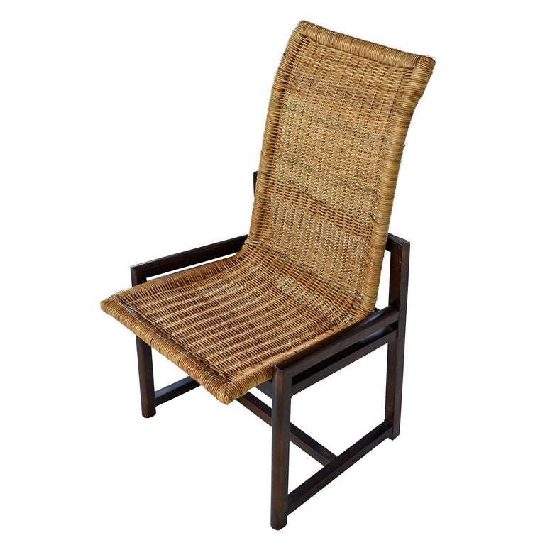 American High Back Woven Rattan Dining Chairs by Century Furniture